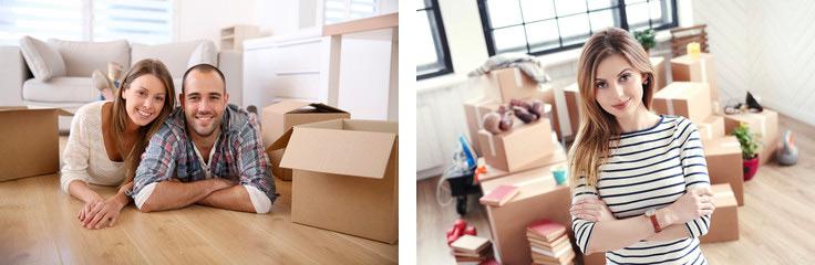 Couple, unpacking boxes.