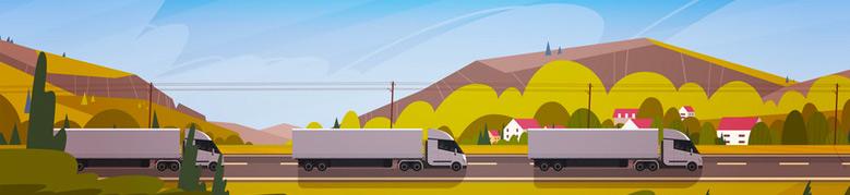 Trucks, landscape in background.