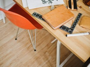 Table with planning tools.