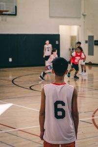 Young kids playing basketball
