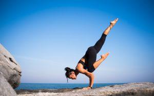 Girl doing yoga.