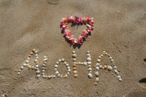 Aloha written in the sand with a heart made of flower.