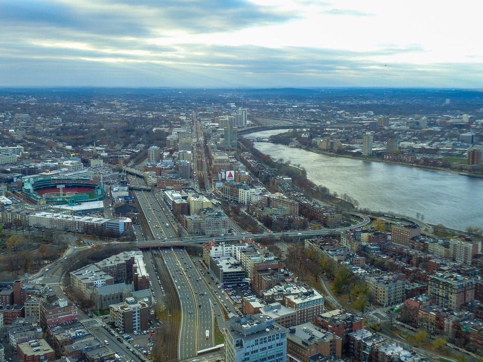 Boston skyline, strecthing further inland.
