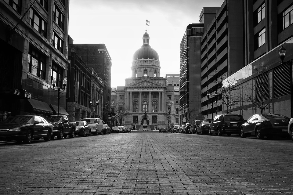 Downtown Indianapolis - one of many traffic-packed places in Indiana.