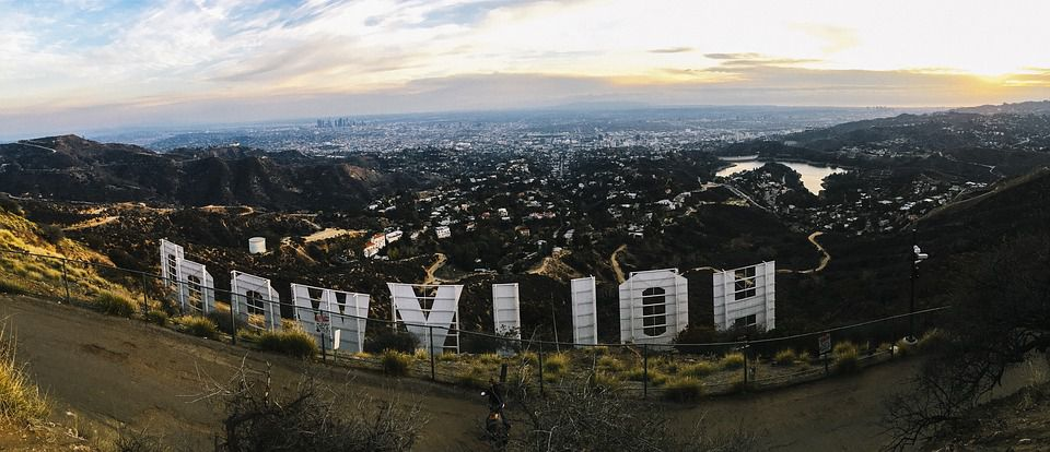 Los Angeles from behind the Hollywood sign.