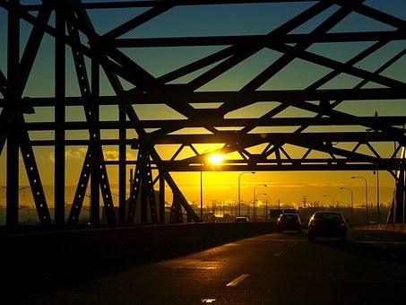A bridge in Illinois during sunset
