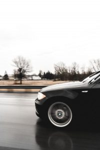 Vehicle in motion.