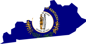 Map of Kentucky with state flag spearding over the territory.