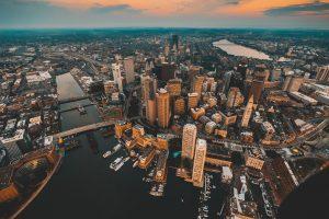 Aerial view of Boston, MA