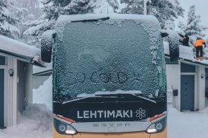 Bus covered in snow