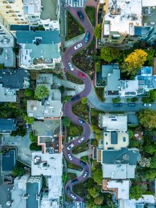 Lombard St, San Francisco seen from the air