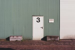Entry door to a storage unit