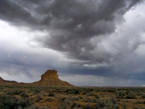 New Mexico landscape with a storm coming.