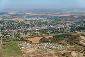 Aerial view of Bismarck - and you can be there in no time with long distance moving companies Bismarck to help you.