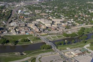 Aerial view of Grand Forks ND, explore it all with long distance moving companies Grand Forks.
