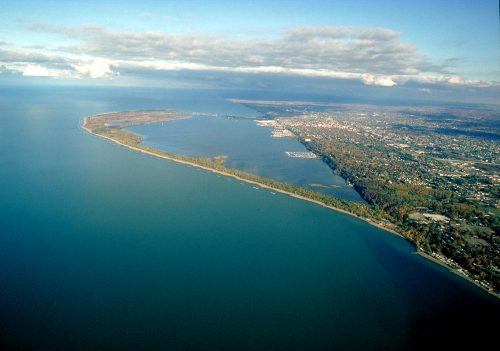 Aerial view of Presque Isle in PA