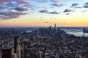 Sun setting over the NYC skyline.