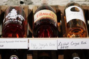 Bottles with hard liquor