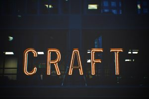 Craft written in a neon sign