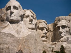 A view of the presidents on Mt Rushmore.