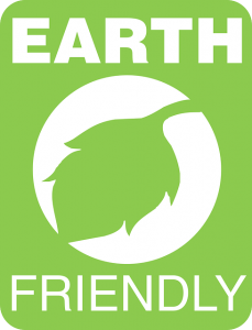 "A green sign that says ""EARTH FRIENDLY""."