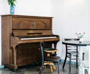 Piano sitting in a living room