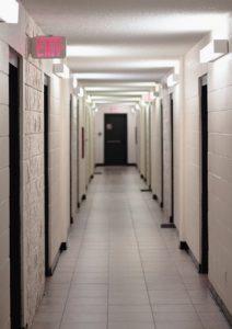 Hallways with dozens of doors