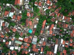 Birdview of a neighborhood.
