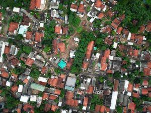 Birdeye view of a suburban neighborhood.