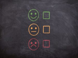 Three smiley faces with different emotions, next to empty tick boxes on a blackboard.