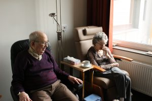 An elderly couple in an retirement home