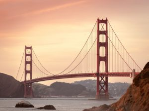 A view of the Golden Gate bridge in the morning, representing San Francisco.