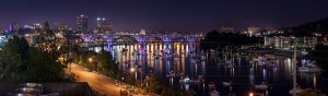 Panorama of Knoxville, TN at night.