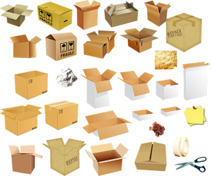 Moving boxes.