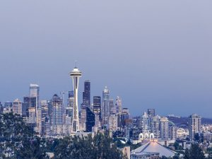 A view of the Seattle skyline during nighttime.