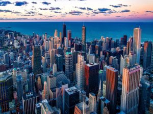A view of downtown urban Chicago during dusk.