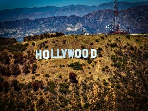 A view of the Hollywood sign in Los Angeles.