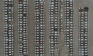 aerial photography of parked cars