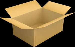 An open empty cardboard box against a black background.