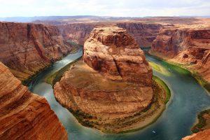 A bend in the Grand Canyon shaped like a horseshoe.