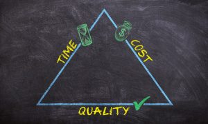 Triangle of quality, time, and cost of long distance moving companies Little Rock.