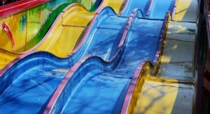 blue and yellow slides