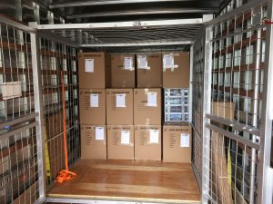 Boxes in moving truck