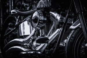 the motor on the motorcycle
