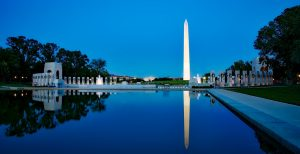 Washington monument as part of monuments in Washington DC