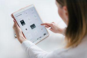 Woman looking at an ipad