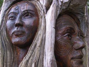 Wood carvings of Native Americans
