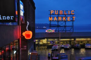 A closeup of the Public Market at Seattle