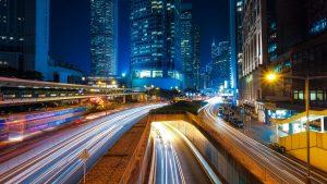 Nighttime crosstown traffic