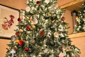 Decorated Christmas tree with ornaments and lights
